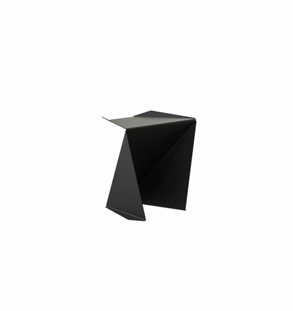 """ORIGAMI"" Stool w/ Leather Cushion, Black"