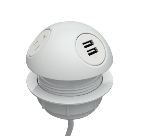 """DUOMO"", TwoElectricOutlets,DualUSB.A, White QUICKSHIP!"